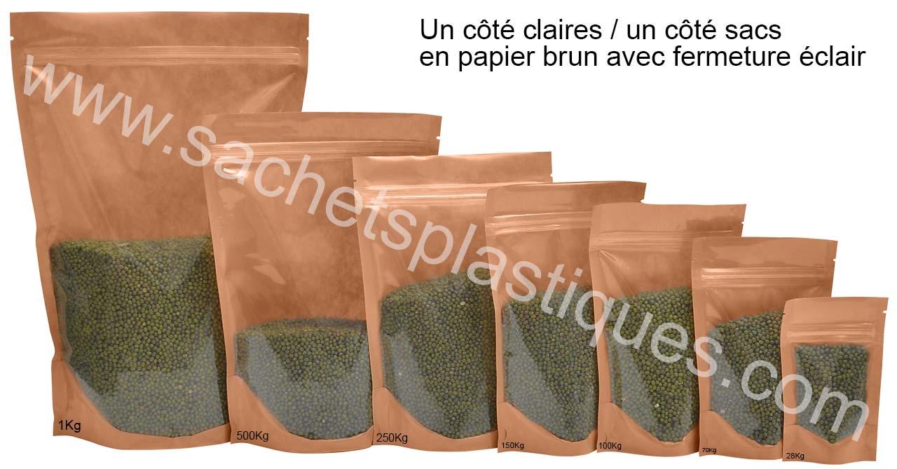 Un côté claires / un côté sacs en papier brun avec fermeture éclair